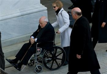 "Cheney, seen here arriving at Capitol Hill, has been described by presidential historians as a ""warped and frustrated old man."""
