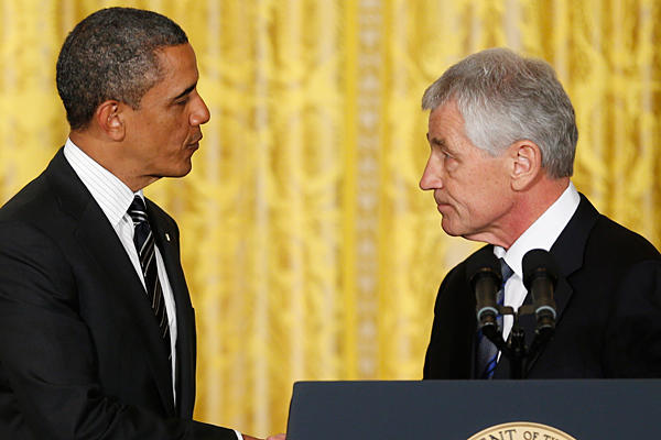 President Obama and Hagel at Hagel's nomination announcement on January 7, 2013.